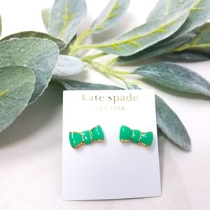KATE SPADE Bow Earrings 'All Wrapped Up' Green